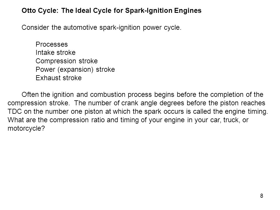 Otto Cycle: The Ideal Cycle for Spark-Ignition Engines