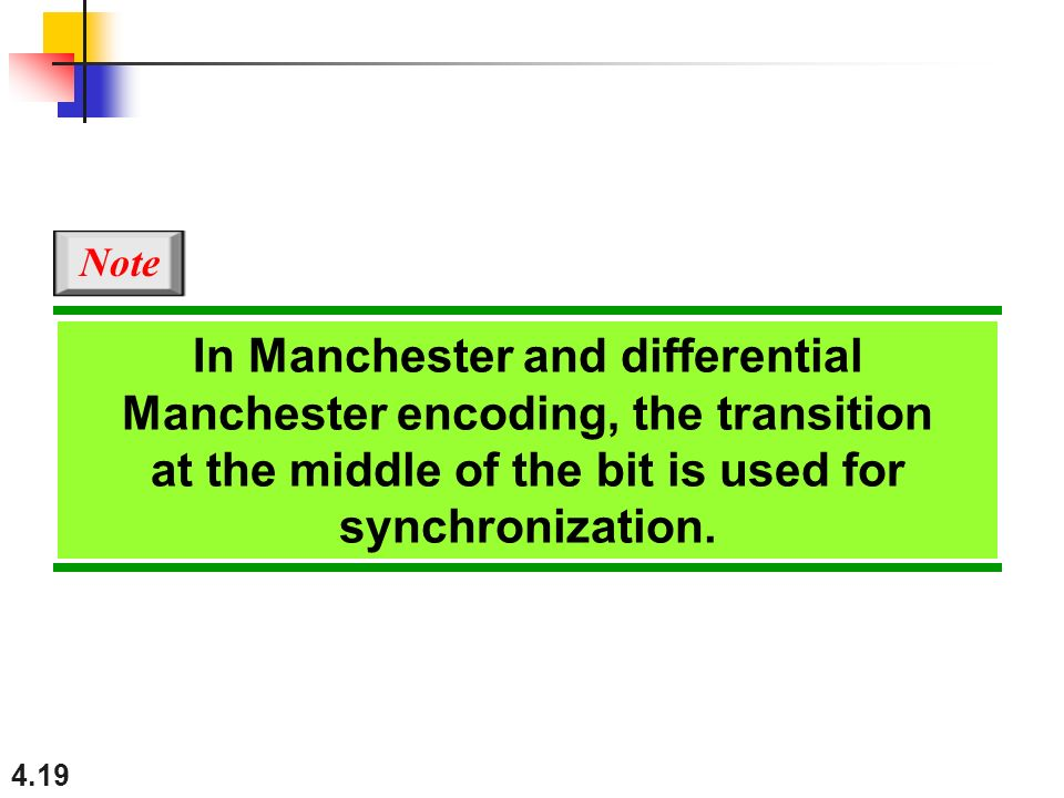 In Manchester and differential Manchester encoding, the transition