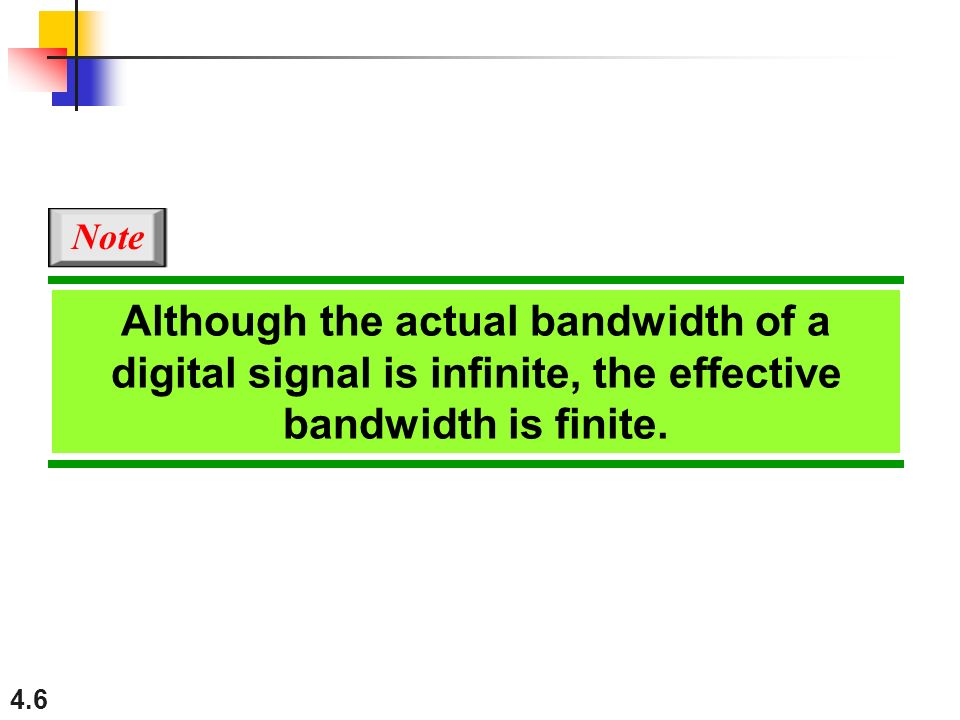 Note Although the actual bandwidth of a digital signal is infinite, the effective bandwidth is finite.