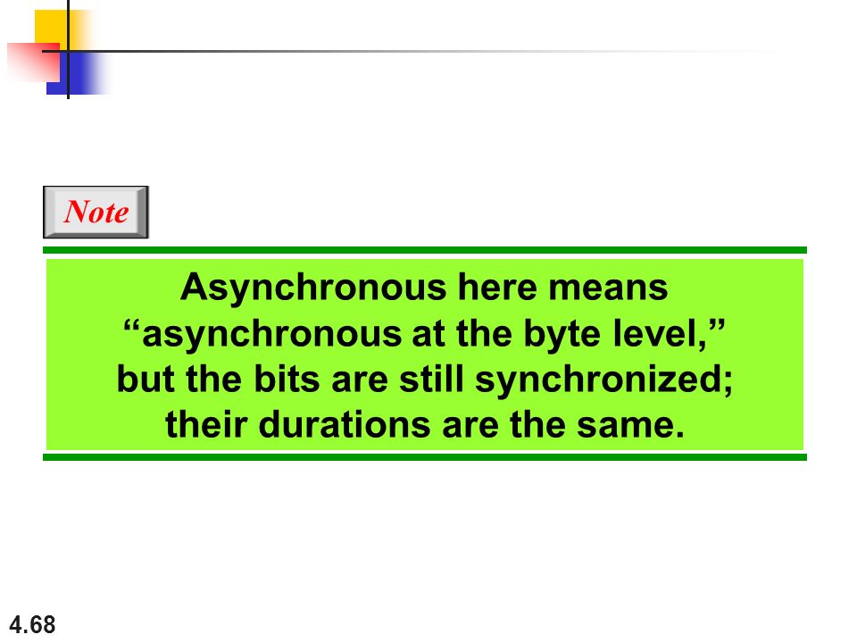Asynchronous here means asynchronous at the byte level,
