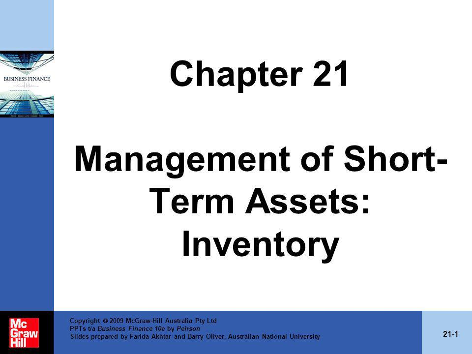 Chapter 21 Management of Short-Term Assets: Inventory