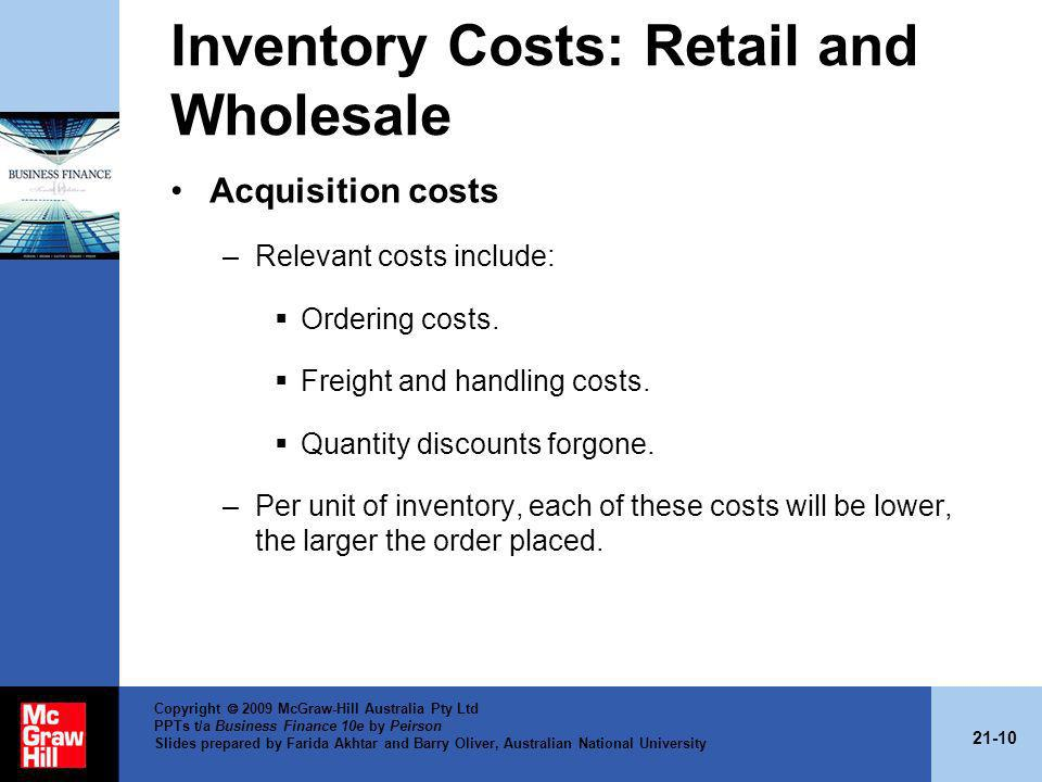 Inventory Costs: Retail and Wholesale