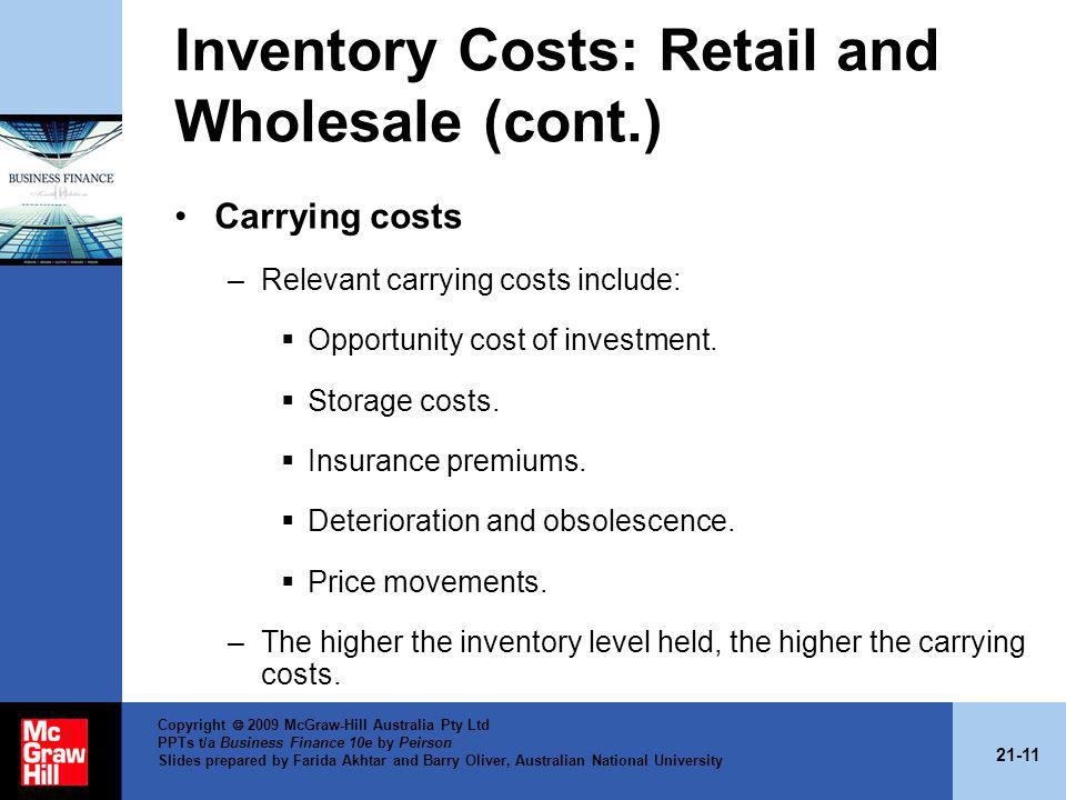 Inventory Costs: Retail and Wholesale (cont.)
