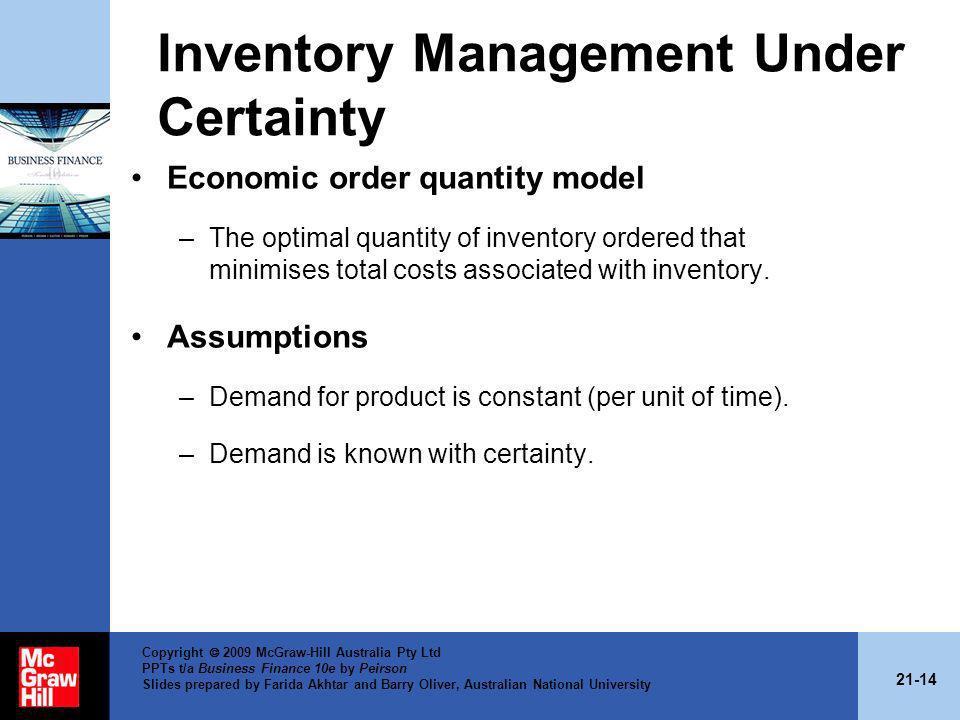 Inventory Management Under Certainty