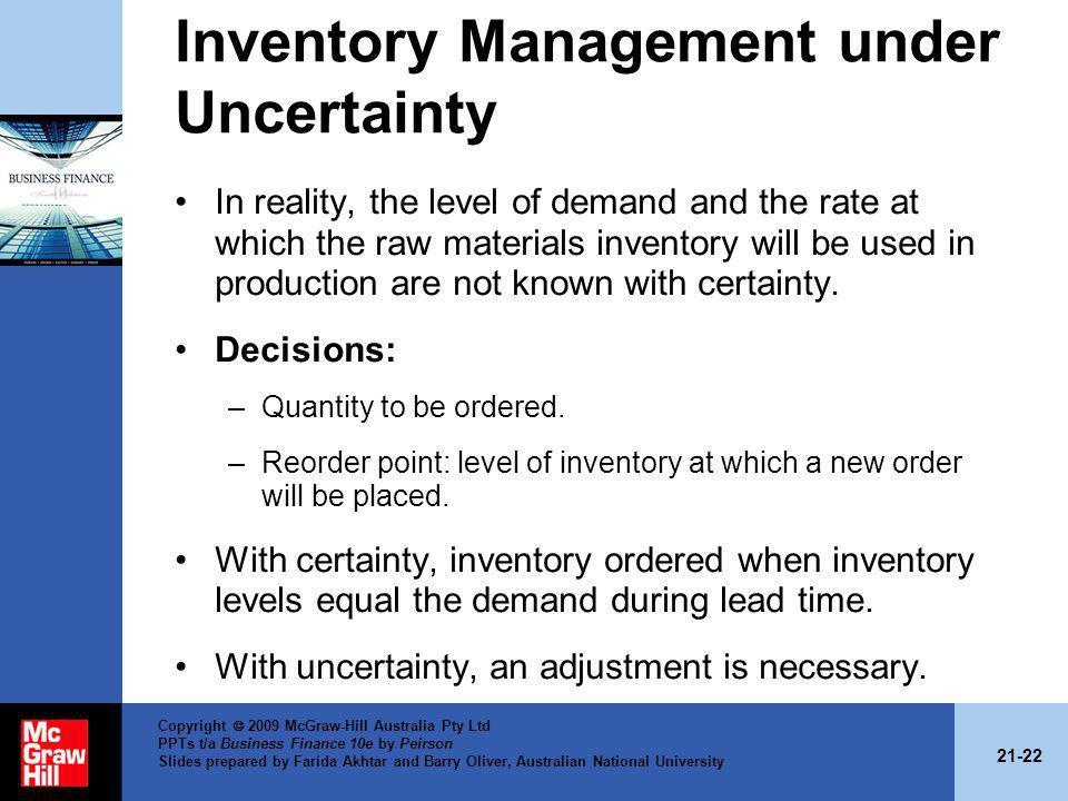 Inventory Management under Uncertainty