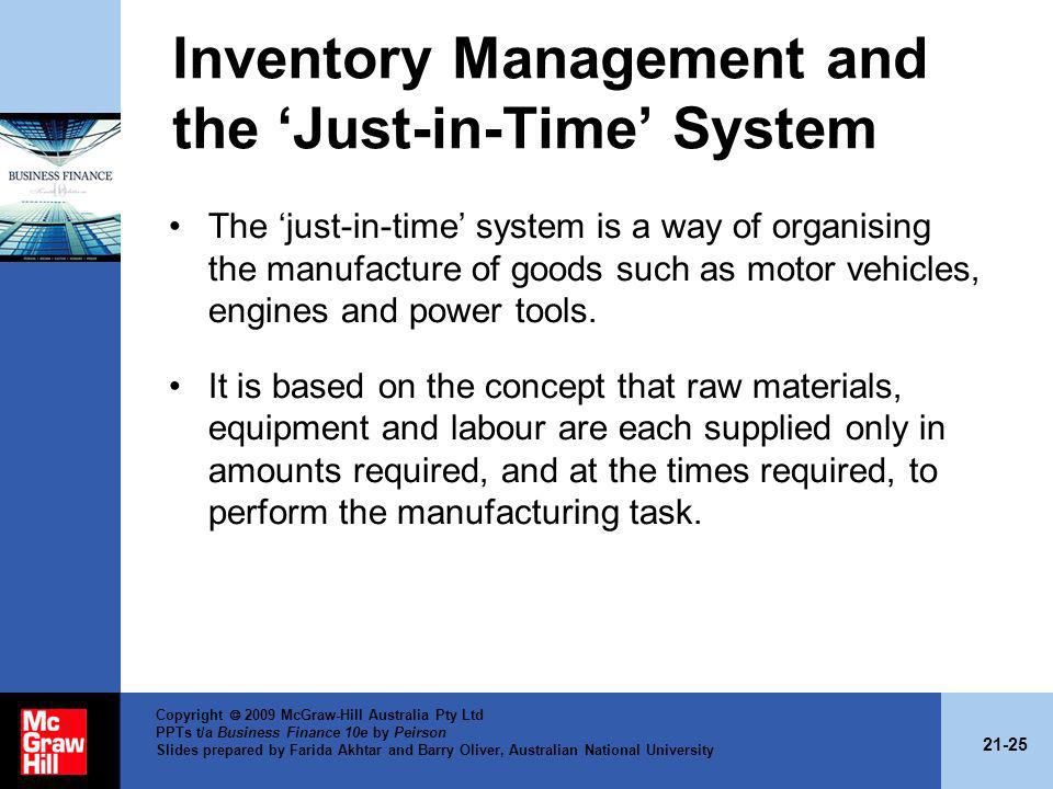 Inventory Management and the 'Just-in-Time' System