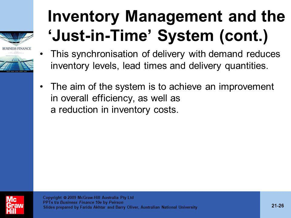 Inventory Management and the 'Just-in-Time' System (cont.)