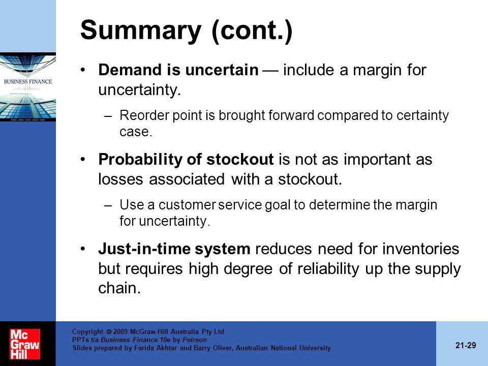 Summary (cont.) Demand is uncertain — include a margin for uncertainty. Reorder point is brought forward compared to certainty case.
