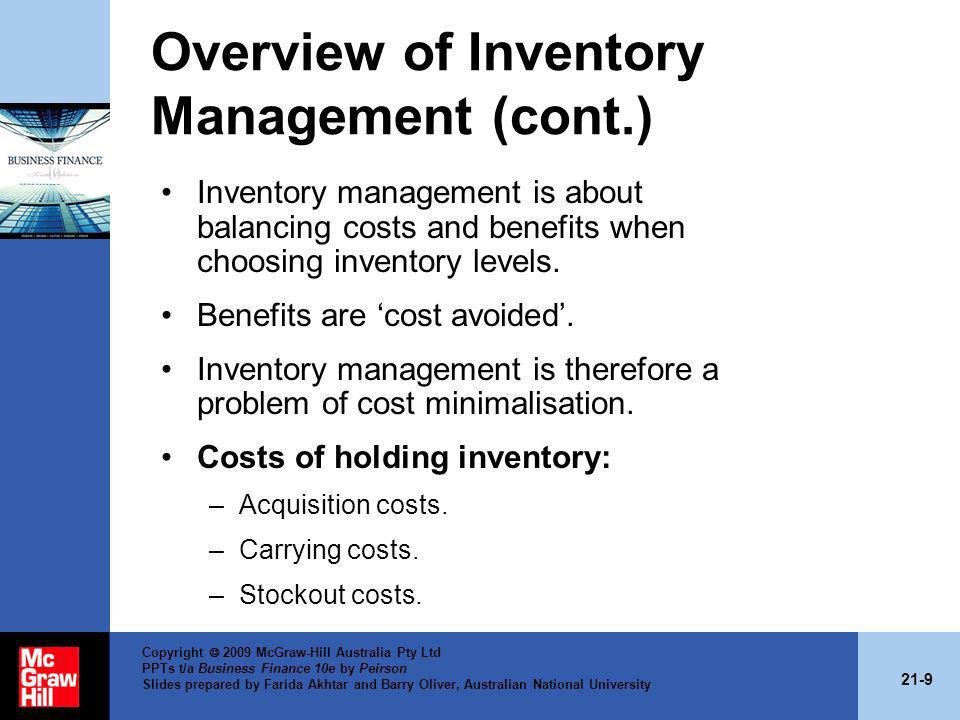 Overview of Inventory Management (cont.)