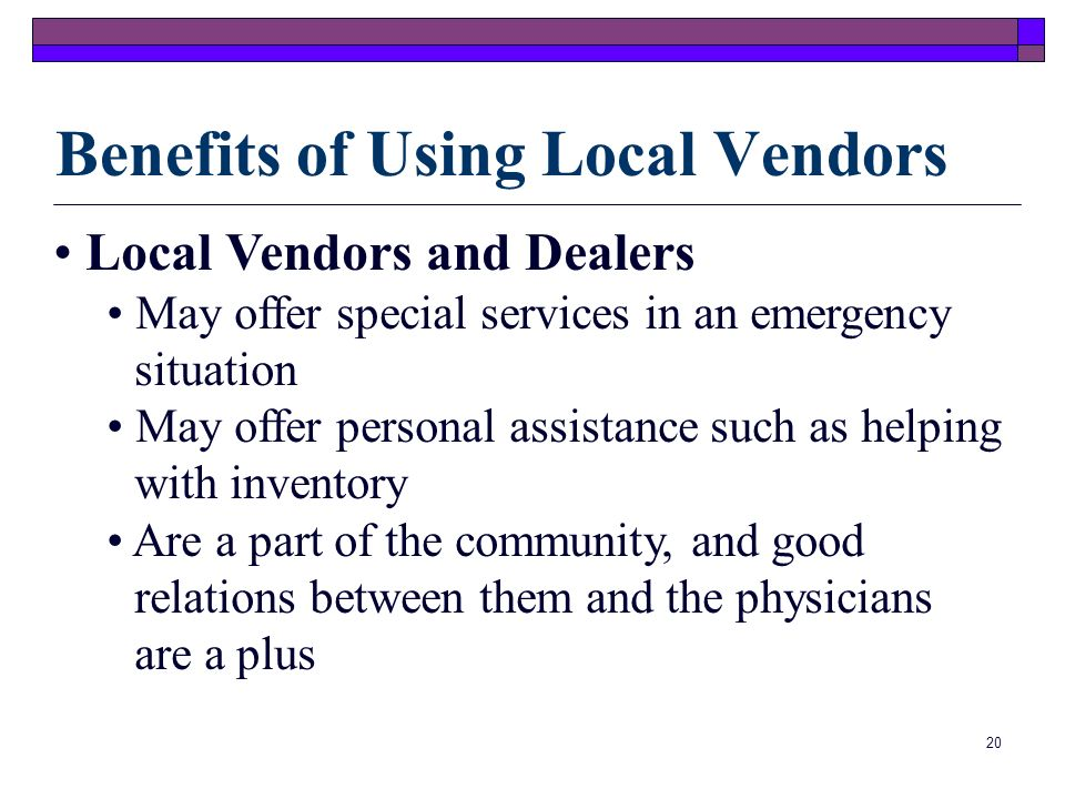 Benefits of Using Local Vendors