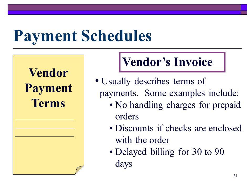 Payment Schedules Vendor's Invoice Vendor Payment Terms