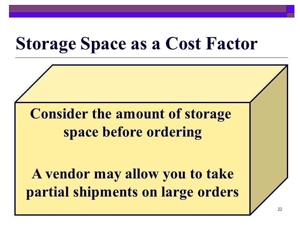 Storage Space as a Cost Factor