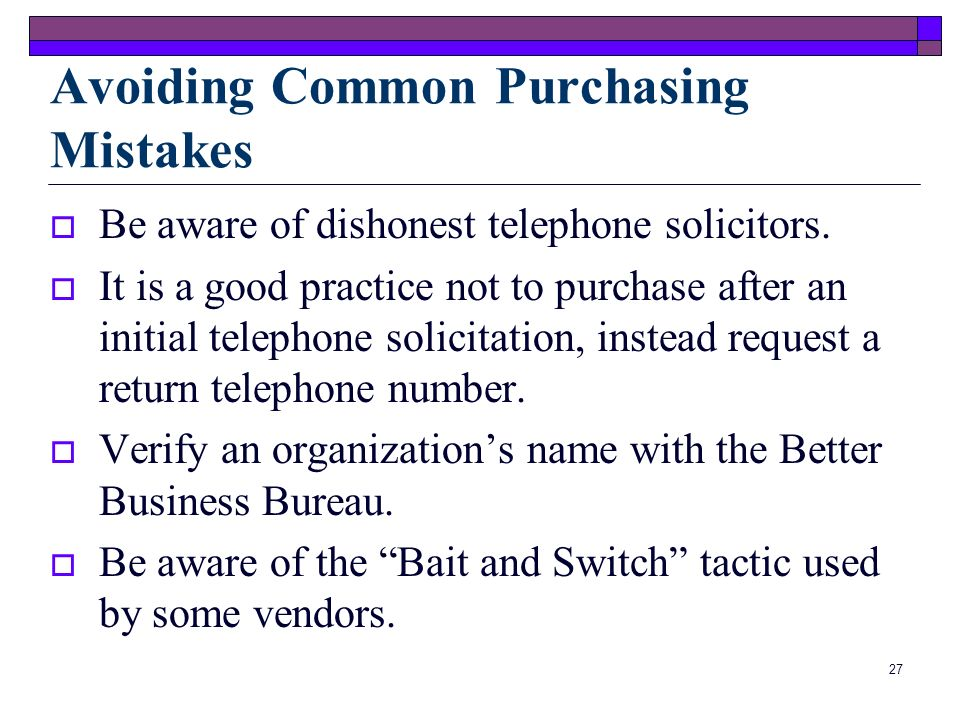Avoiding Common Purchasing Mistakes