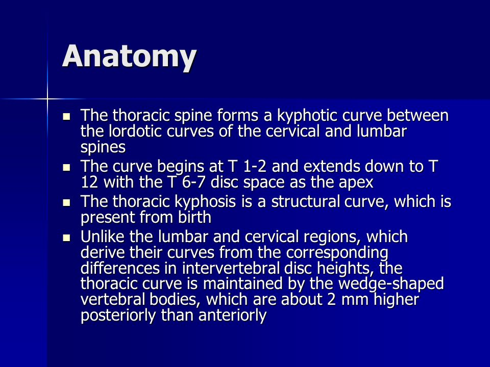 Anatomy The thoracic spine forms a kyphotic curve between the lordotic curves of the cervical and lumbar spines.