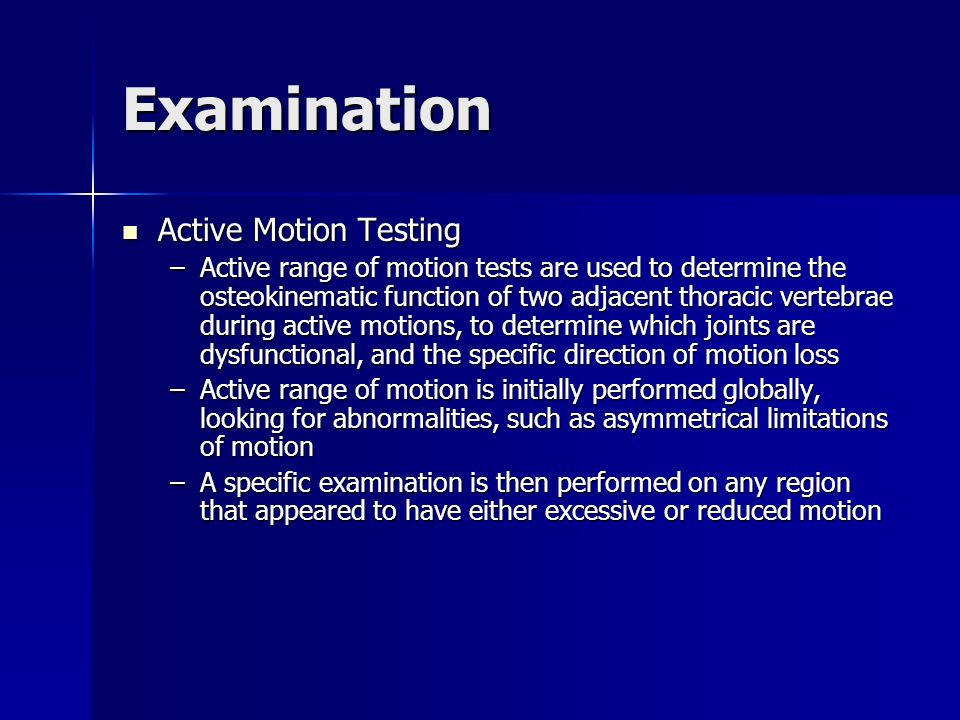 Examination Active Motion Testing