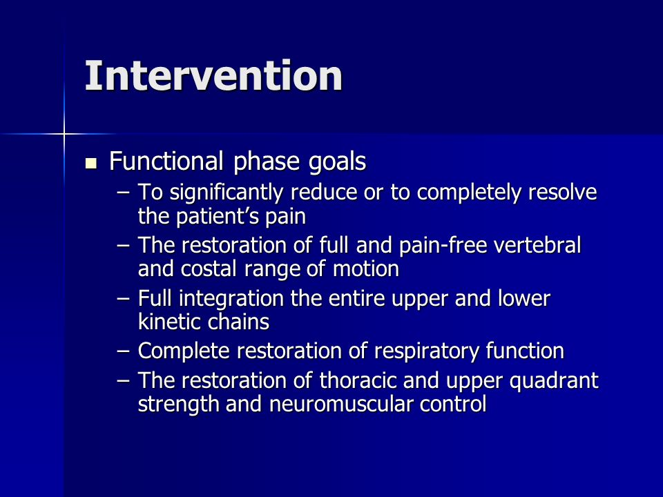 Intervention Functional phase goals
