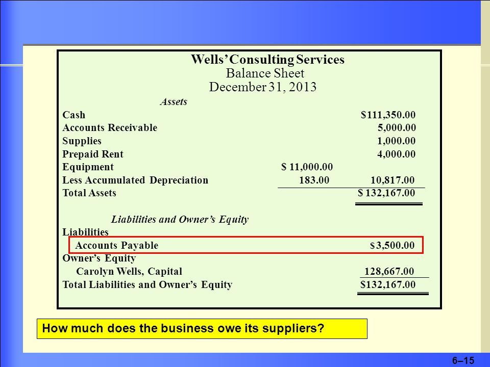 Wells' Consulting Services Balance Sheet December 31, 2013
