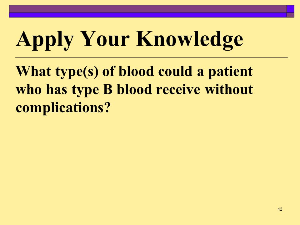 Apply Your Knowledge What type(s) of blood could a patient who has type B blood receive without complications