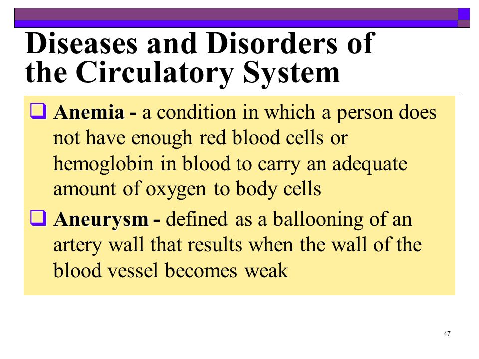Diseases and Disorders of the Circulatory System