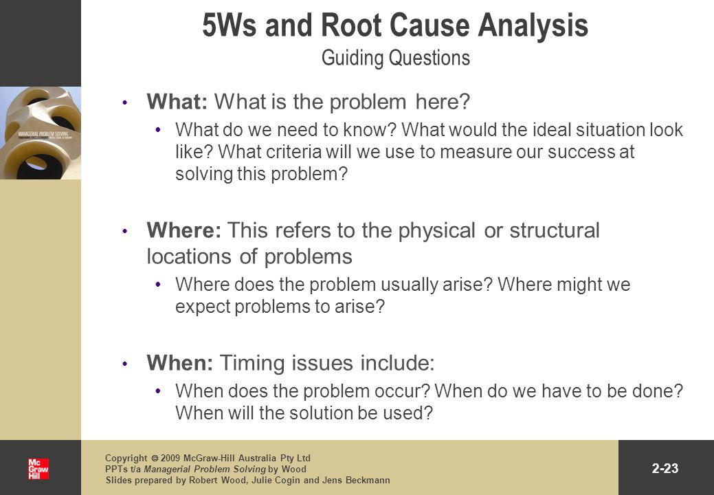 5Ws and Root Cause Analysis Guiding Questions