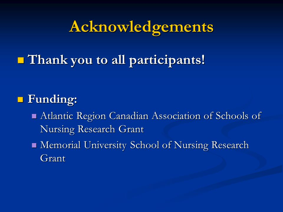 Acknowledgements Thank you to all participants! Funding: