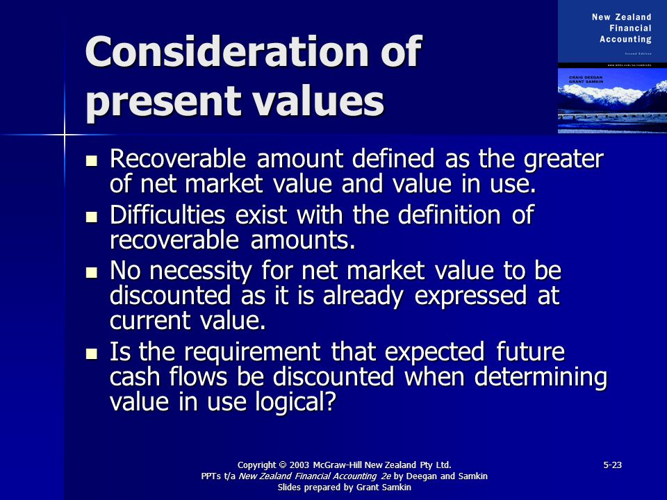Consideration of present values
