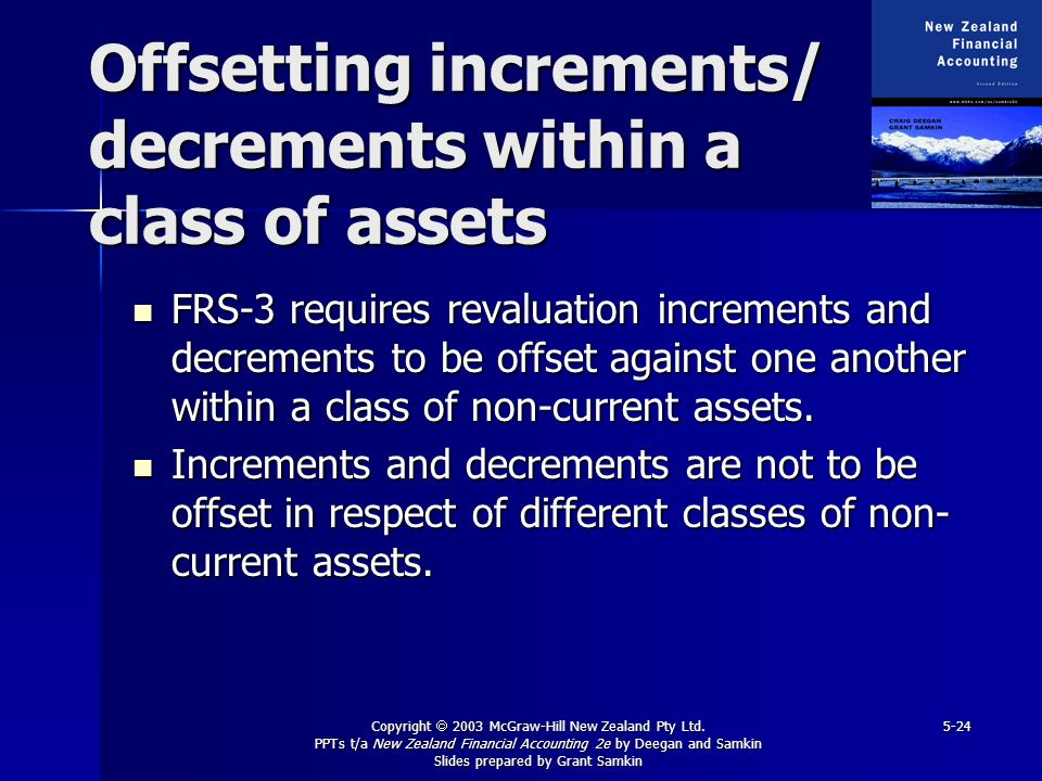 Offsetting increments/ decrements within a class of assets