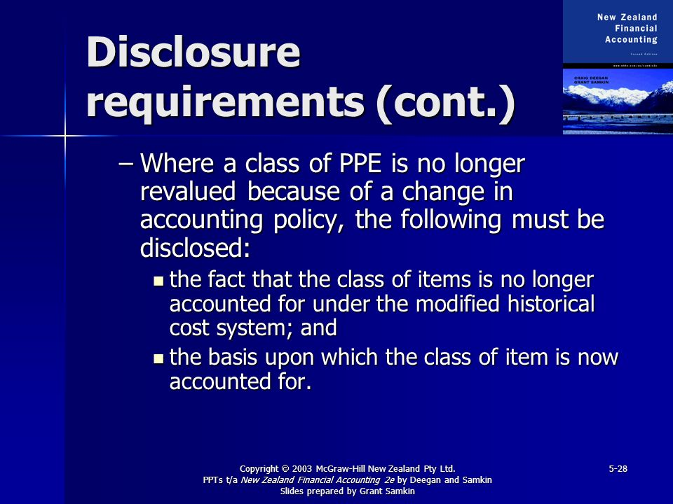 Disclosure requirements (cont.)