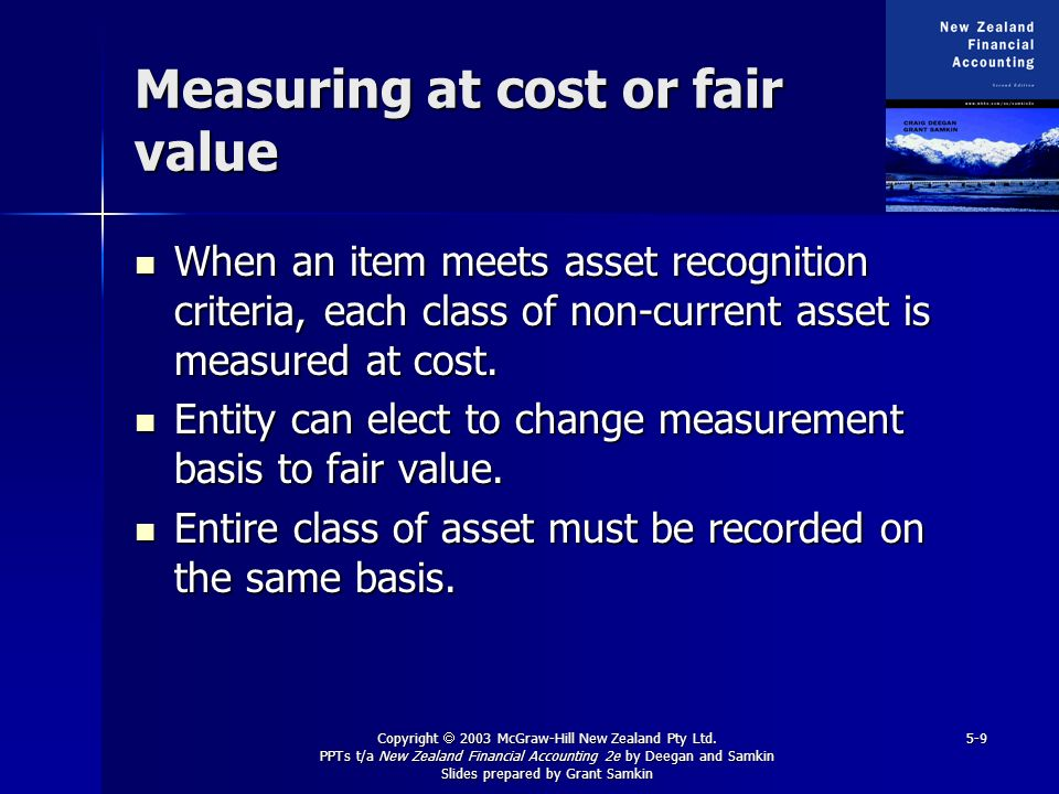 Measuring at cost or fair value