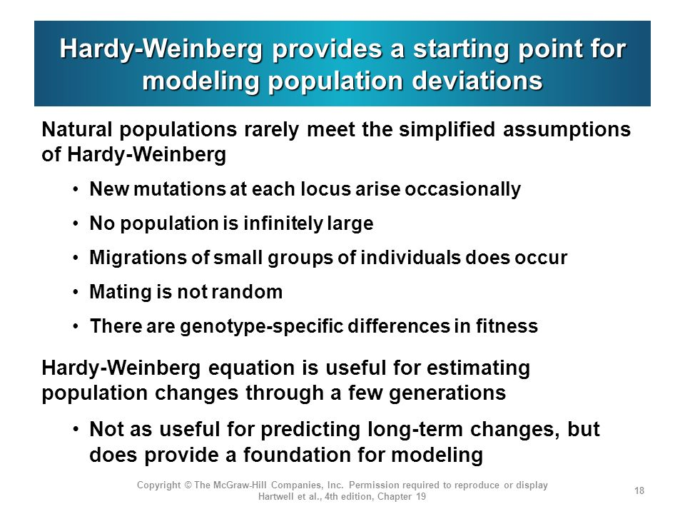 Hardy-Weinberg provides a starting point for modeling population deviations