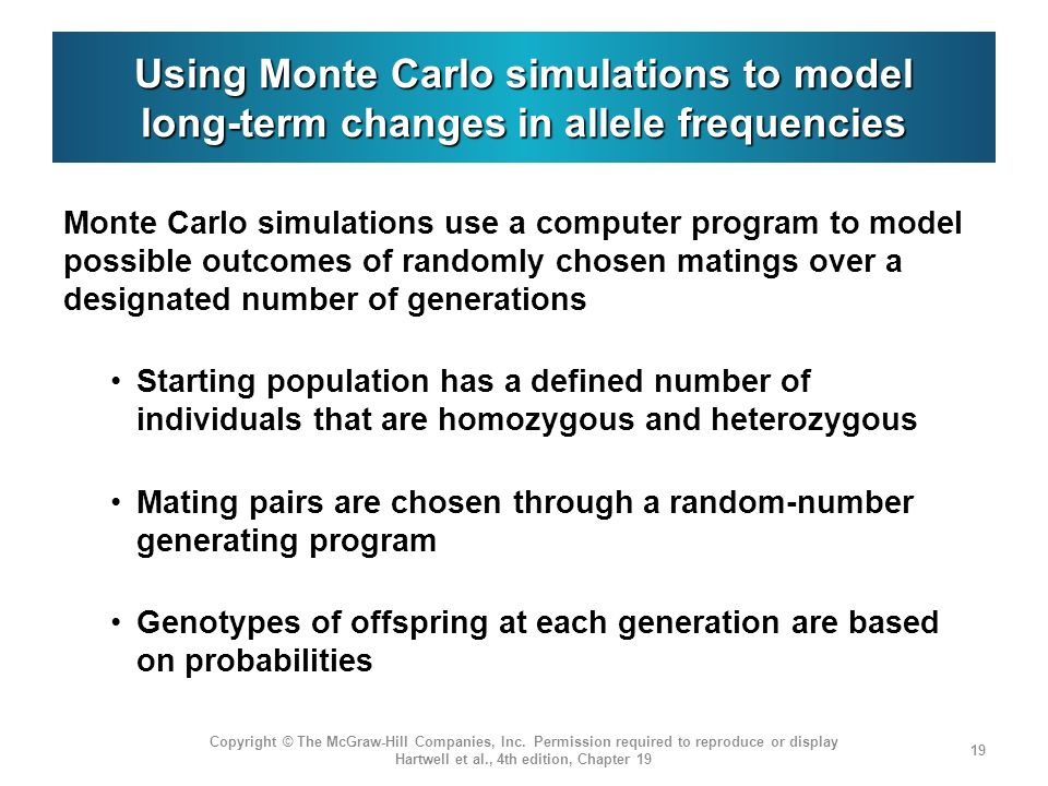 Using Monte Carlo simulations to model long-term changes in allele frequencies