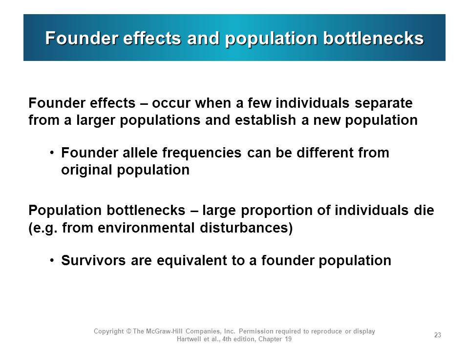 Founder effects and population bottlenecks