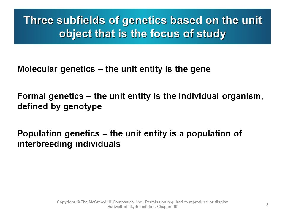 Three subfields of genetics based on the unit object that is the focus of study