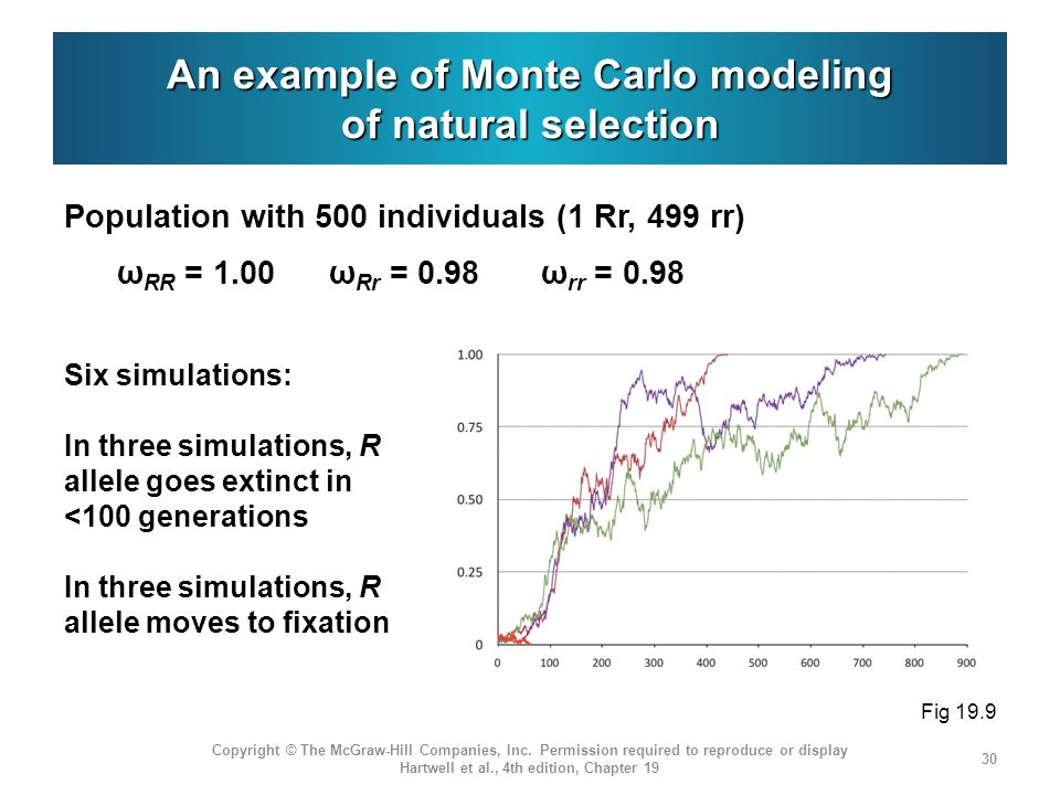 An example of Monte Carlo modeling of natural selection