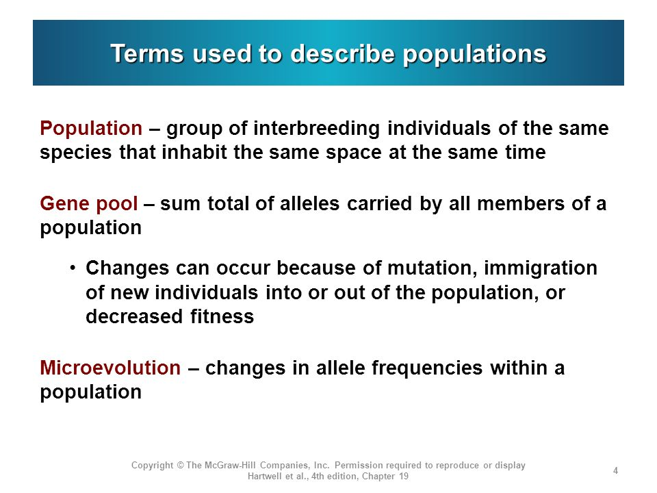 Terms used to describe populations