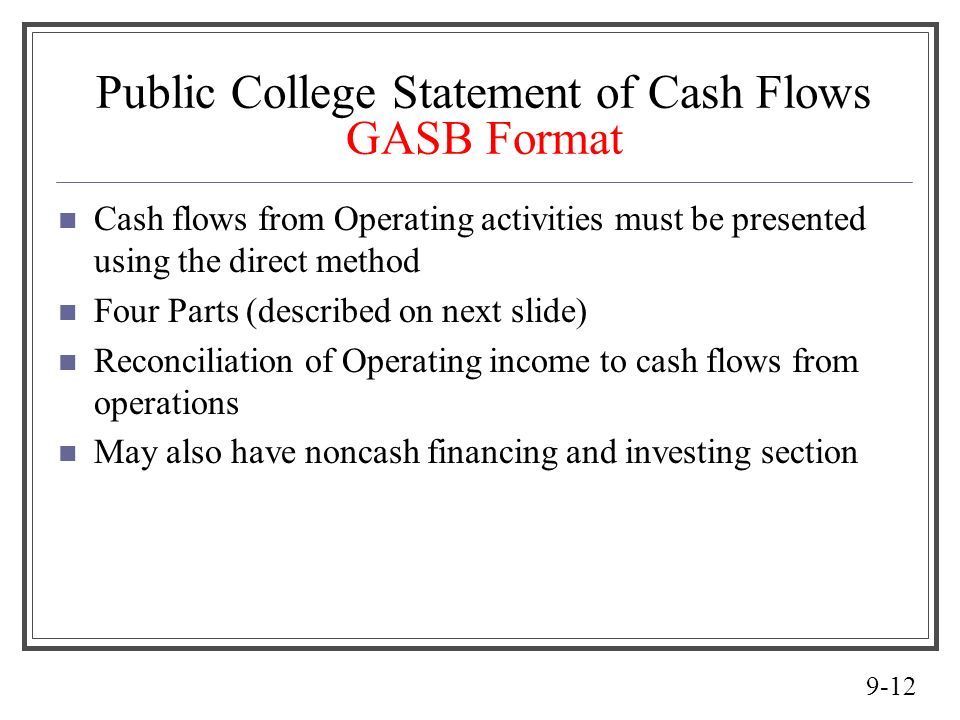 Public College Statement of Cash Flows GASB Format