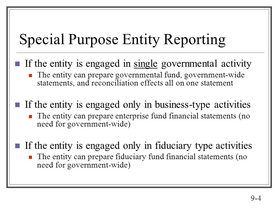 Special Purpose Entity Reporting
