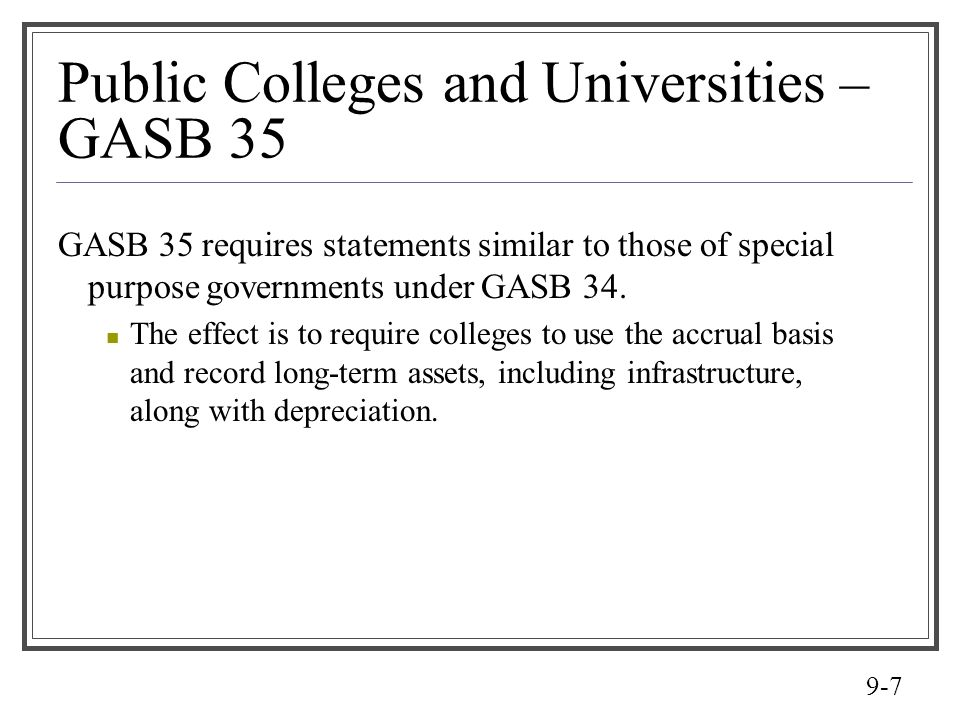 Public Colleges and Universities – GASB 35
