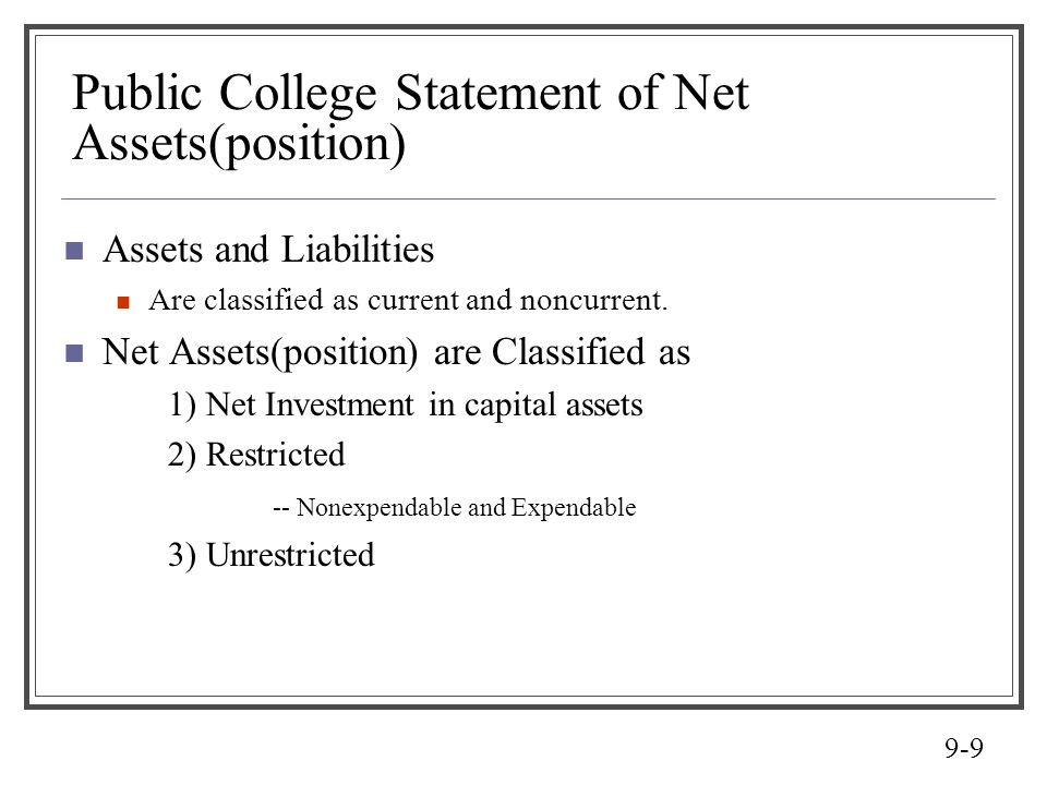 Public College Statement of Net Assets(position)