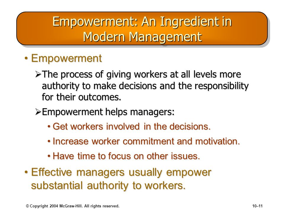 Empowerment: An Ingredient in Modern Management