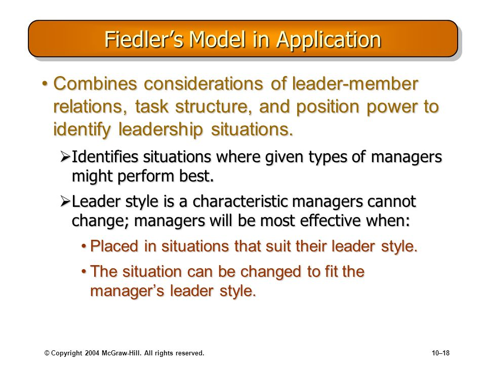 Fiedler's Model in Application