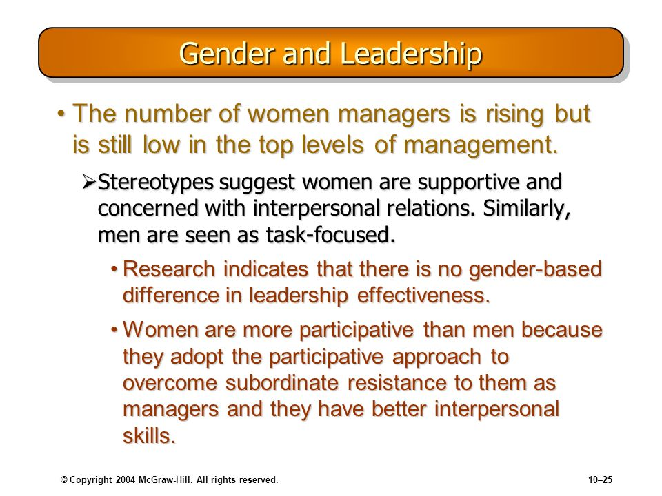 Gender and Leadership The number of women managers is rising but is still low in the top levels of management.
