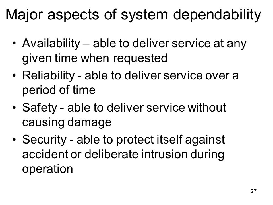 Major aspects of system dependability