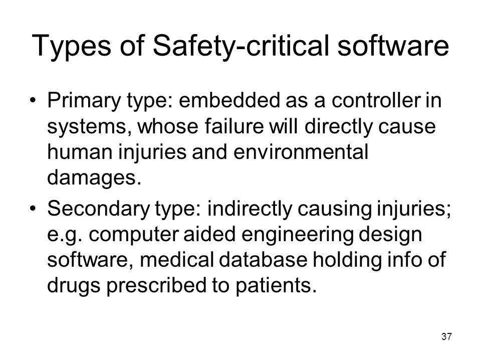Types of Safety-critical software