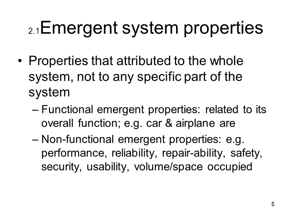 2.1Emergent system properties