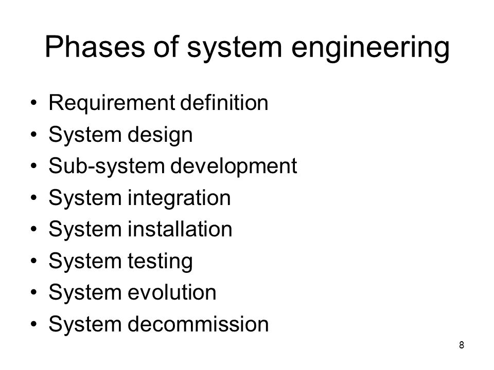 Phases of system engineering