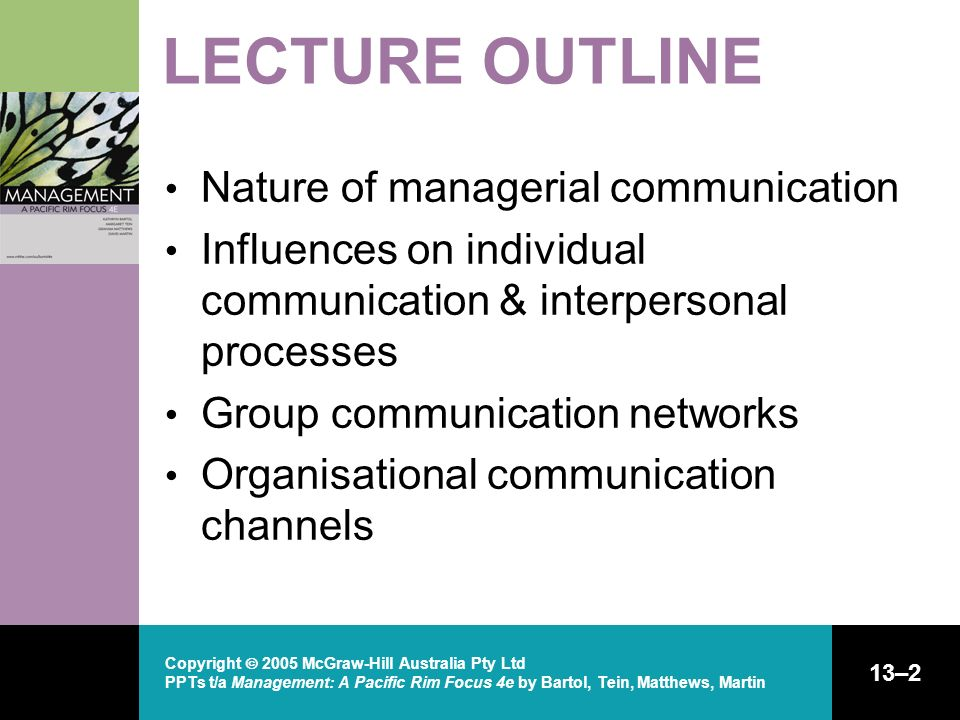 LECTURE OUTLINE Nature of managerial communication