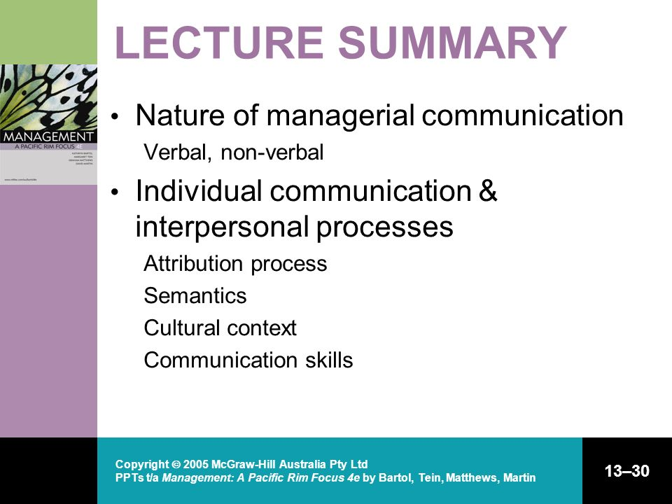 LECTURE SUMMARY Nature of managerial communication