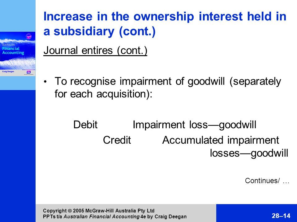 Increase in the ownership interest held in a subsidiary (cont.)