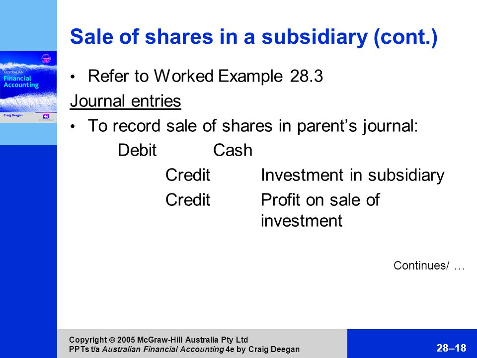 Sale of shares in a subsidiary (cont.)
